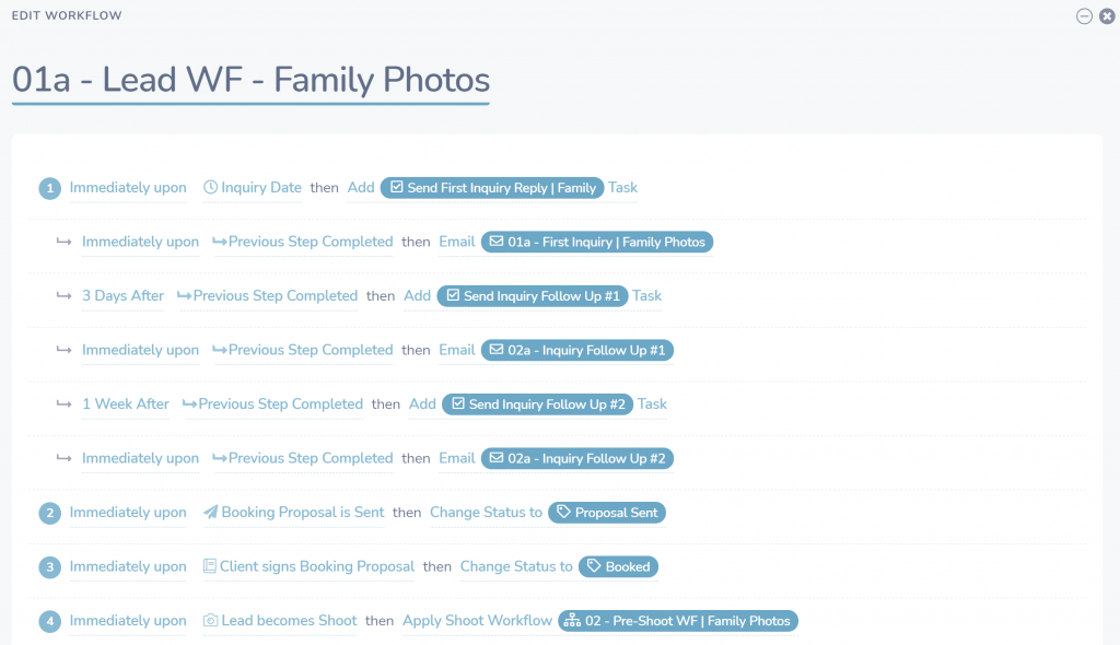 lead workflow for family photos in sprout studio example